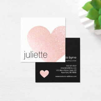 Cartão De Visitas Quadrado Luz bonito - salão de beleza cor-de-rosa do