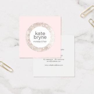 Cartão De Visitas Quadrado Luz moderna - salão de beleza cor-de-rosa do