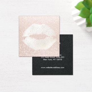 Cartão De Visitas Quadrado Luz retro do beijo - maquilhador cor-de-rosa do