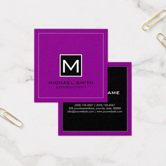 Cartão De Visitas Quadrado Magenta preta moderna elegante do monograma