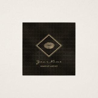 Cartão De Visitas Quadrado Malha preta do ouro do Sepia dos lábios pretos do
