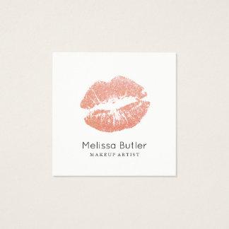 Cartão De Visitas Quadrado Maquilhador cor-de-rosa dos lábios do brilho do