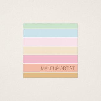 Cartão De Visitas Quadrado maquilhador pastel da paleta da cor fina moderna