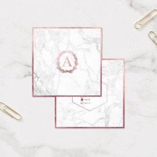 Cartão De Visitas Quadrado Mármore de PixDezines+Monograma cor-de-rosa do
