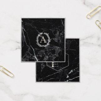 Cartão De Visitas Quadrado Mármore de PixDezines+Monograma de prata do falso