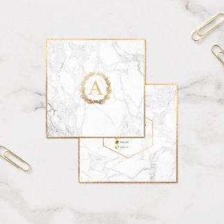 Cartão De Visitas Quadrado Mármore de PixDezines+Monograma do ouro do falso