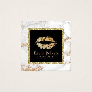 Cartão De Visitas Quadrado Mármore na moda do salão de beleza dos lábios do