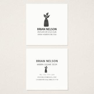 Cartão De Visitas Quadrado Minimalismo moderno Black|White do vaso da planta