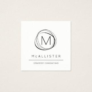 Cartão De Visitas Quadrado Monograma abstrato moderno preto & do branco