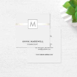 Cartão De Visitas Quadrado Monograma cinzento moderno do profissional da