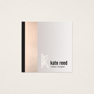 Cartão De Visitas Quadrado Monograma cor-de-rosa do quadrado da listra do