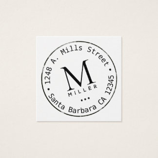 Cartão De Visitas Quadrado monograma do círculo
