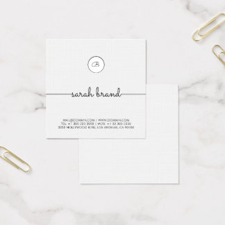 Cartão De Visitas Quadrado Monograma minimalista chique