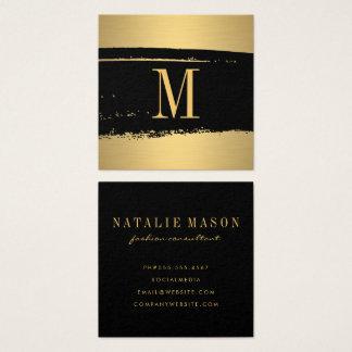 Cartão De Visitas Quadrado Monograma minimalista moderno no preto/ouro