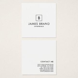 Cartão De Visitas Quadrado Monograma mínimo elegante