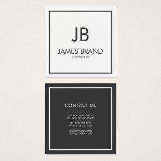 Cartão De Visitas Quadrado Monograma preto e branco minimalista quadrado