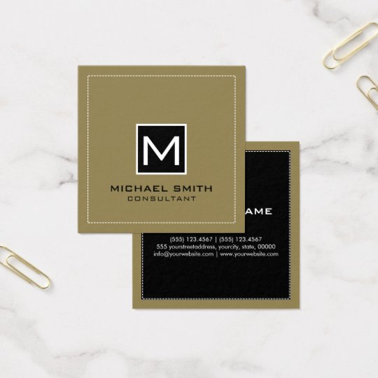 Cartão De Visitas Quadrado Monograma Tan preto moderno elegante