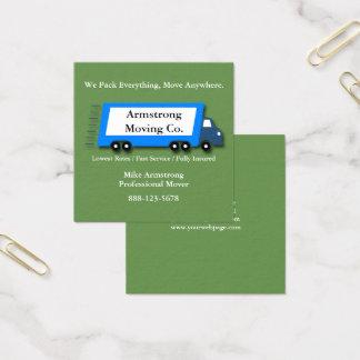 Cartão De Visitas Quadrado Motor movente do caminhão da empresa de mudanças
