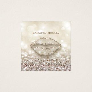 Cartão De Visitas Quadrado Na moda moderno, maquilhador, Glittery, Bokeh,