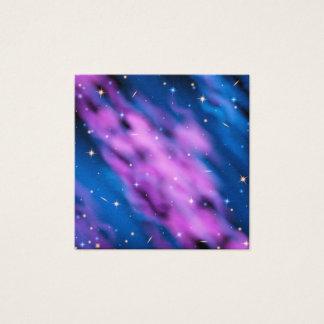 Cartão De Visitas Quadrado Nebulosa azul do espaço com estrelas