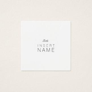 Cartão De Visitas Quadrado Noir e Blanc lisos minimalistas profissionais