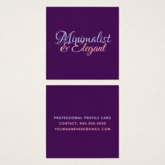 Cartão De Visitas Quadrado Nome minimalista & elegante do roteiro no roxo