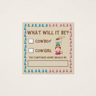 Cartão De Visitas Quadrado O género da vaqueira ou do vaqueiro revela a