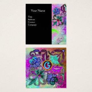 Cartão De Visitas Quadrado O LAÇO ROXO AZUL da CERCETA FLORESCE o preto de