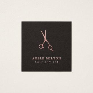Cartão De Visitas Quadrado O ouro cor-de-rosa elegante minimalista Scissors o