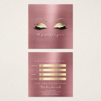 Cartão De Visitas Quadrado O ouro do feijão vermelho do rosa do certificado