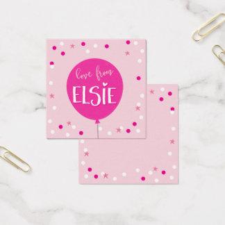 Cartão De Visitas Quadrado O PRESENTE ETIQUETA confetes bonitos do balão do