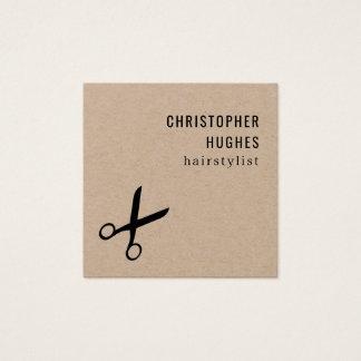Cartão De Visitas Quadrado O preto legal minimalista Scissor o cabeleireiro