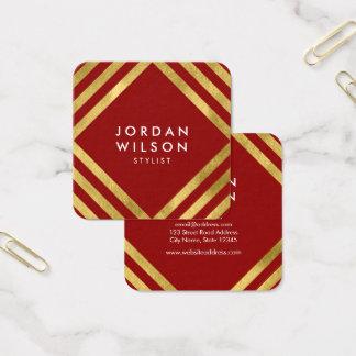 Cartão De Visitas Quadrado O quadrado vermelho elegante do ouro do falso
