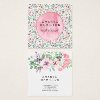 Cartão De Visitas Quadrado O rosa moderno da aguarela floresce a folha das
