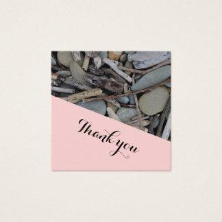 Cartão De Visitas Quadrado Obrigado do casamento da madeira lançada costa das