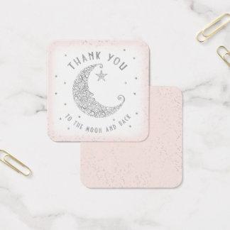 Cartão De Visitas Quadrado Obrigado etiquetar a cintilação pouco rosa do chá