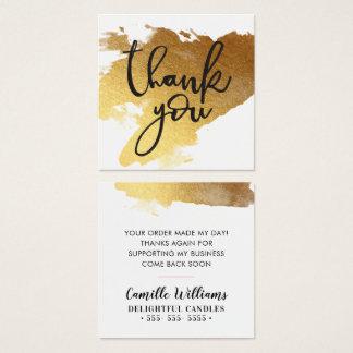 Cartão De Visitas Quadrado OBRIGADO ETIQUETAR a mão que rotula o ouro pintado