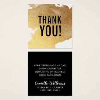 Cartão De Visitas Quadrado OBRIGADO preto luxe glam do respingo da folha de