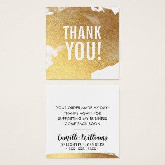 Cartão De Visitas Quadrado OBRIGADO respingo luxe glamoroso da folha de ouro
