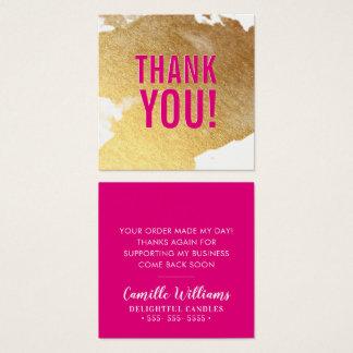 Cartão De Visitas Quadrado OBRIGADO rosa quente do respingo luxe glam da
