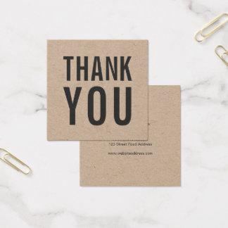 Cartão De Visitas Quadrado Obrigado rústico à moda simples você Kraft
