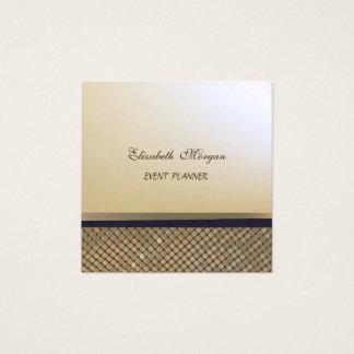 Cartão De Visitas Quadrado Ouro à moda elegante do falso, Sequins cintilantes