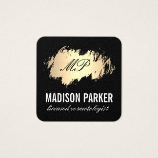 Cartão De Visitas Quadrado Ouro clássico do monograma escovado com preto