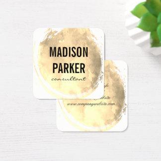 Cartão De Visitas Quadrado Ouro contemporâneo da aguarela escovado