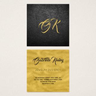 Cartão De Visitas Quadrado Ouro de couro preto luxuoso Monogrammed metálico