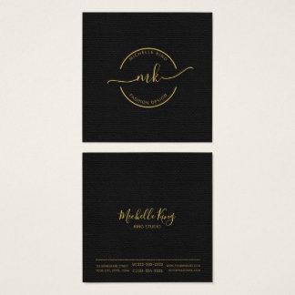 Cartão De Visitas Quadrado Ouro do monograma do círculo e dos Swashes em