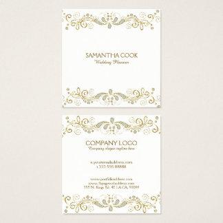 Cartão De Visitas Quadrado Ouro elegante & quadro floral dos redemoinhos do