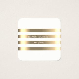 Cartão De Visitas Quadrado Ouro moderno à moda elegante do falso listrado,