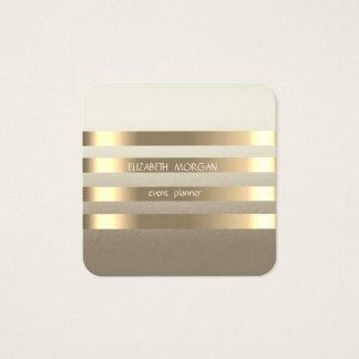 Cartão De Visitas Quadrado Ouro moderno à moda elegante do falso listrado
