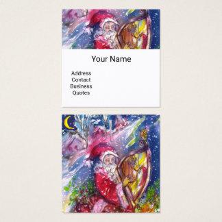 Cartão De Visitas Quadrado PAPAI NOEL que JOGA a HARPA no Natal do LUAR